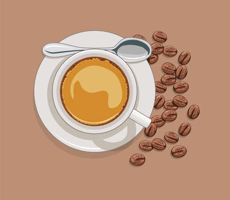 cappuccino: vector cup of coffee and scattered coffee beans