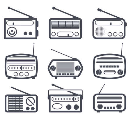 portables: vector set of black and white radio icons