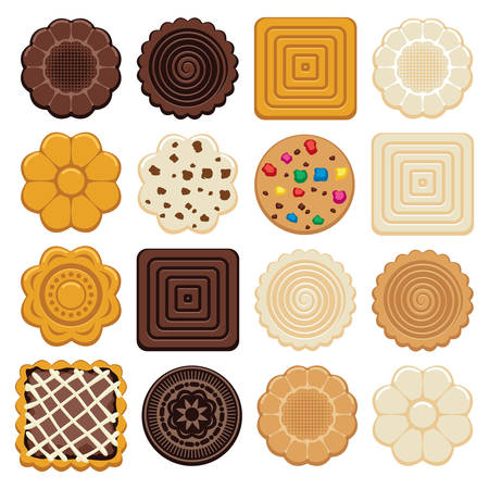 choc: vector set of colorful chocolate and biscuit chip cookies of different shapes on white background