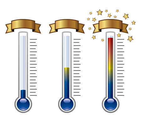 fundraiser: vector goal thermometers at different levels