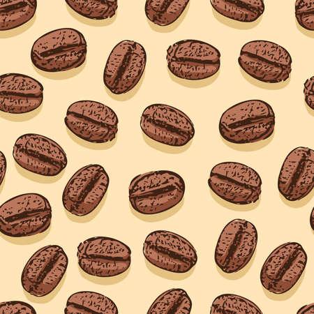 grano de cafe: resumen de antecedentes de vectores con motivo del grano de café sin fisuras