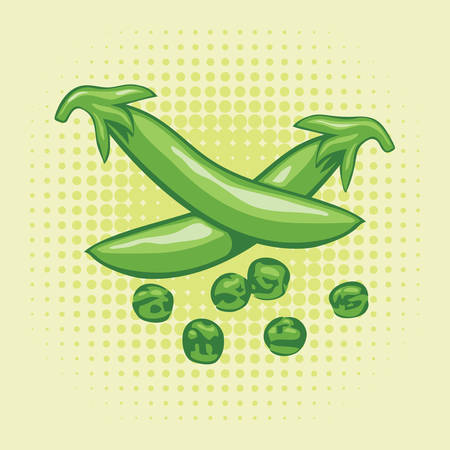 green peas: vector pods of green peas