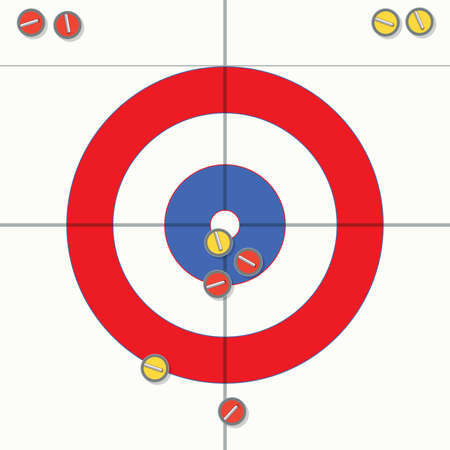 sliding colors: vector sport illustration of curling stones on ice Illustration