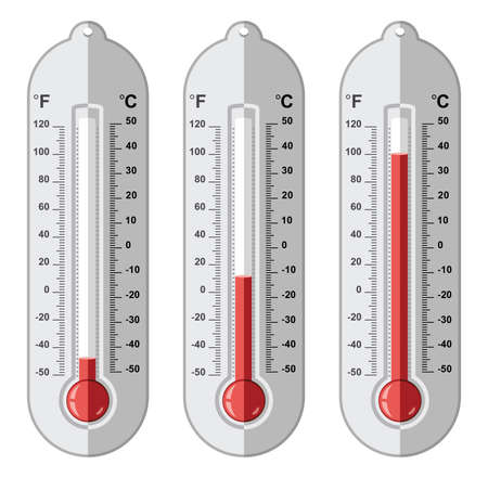 fahrenheit: vector set of thermometers at different levels with fahrenheit and celsius scale