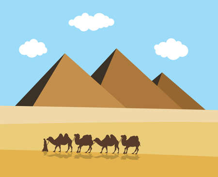 footprints in sand: vector camels and bedouin in desert with egyptian pyramides