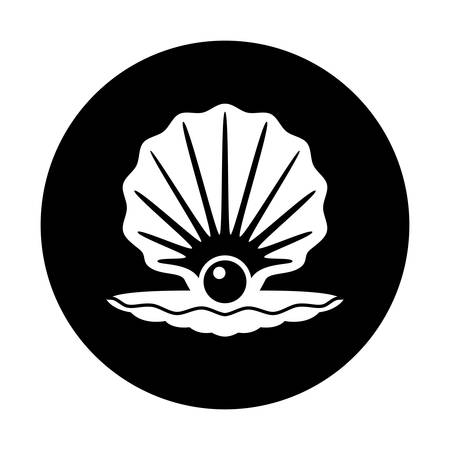 pearl shell: vector pearl in a shell black and white icon