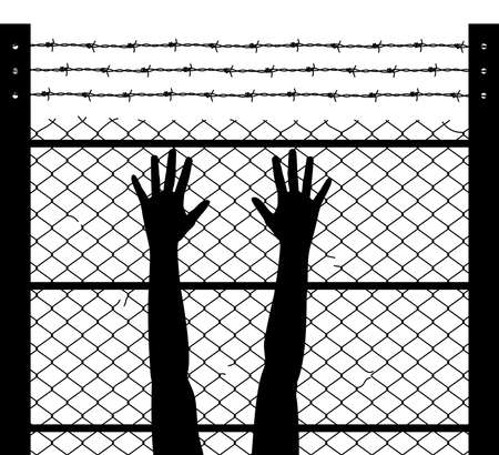 vector black and white illustration of woman raised hands and barbed wire prison boundary