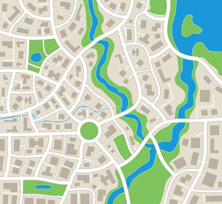 lake district: vector illustration of abstract city map