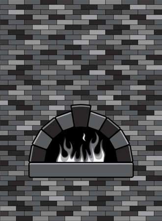 open flame: vector brick oven with burning fire