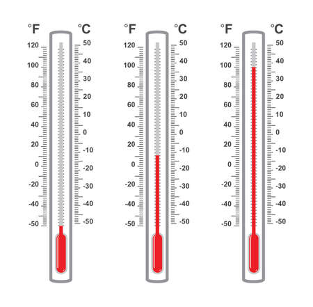 celsius: vector set of flat thermometers at different levels with fahrenheit and celsius scale