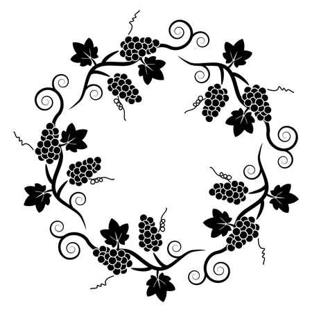 black grape: vector black and white decoration pattern of grape vine
