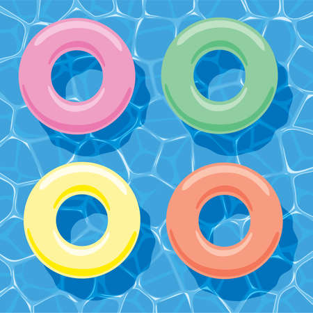 ring: vector summer background with inflatable rings floating on water