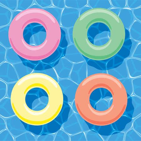 schwimmring: Vektor-Sommer-Hintergrund mit aufblasbaren Ringen auf dem Wasser treiben