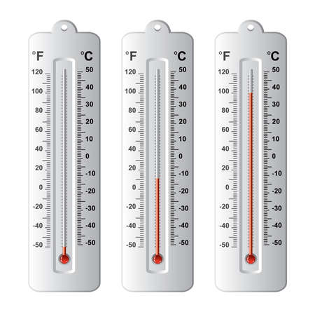 celsius: vector set of thermometers at different levels with fahrenheit and celsius scale