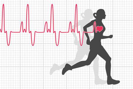 ilustración vectorial de electrocardiograma latido del corazón y la mujer corriendo