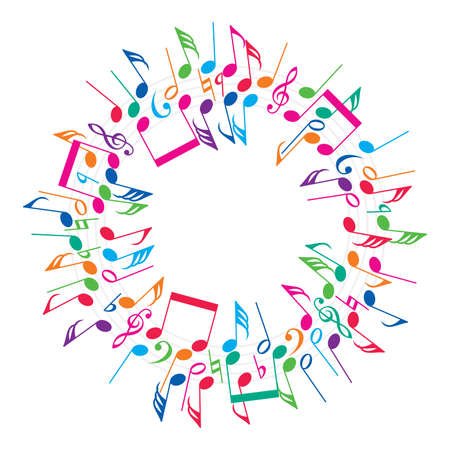 vector round colorful background of music notes Çizim