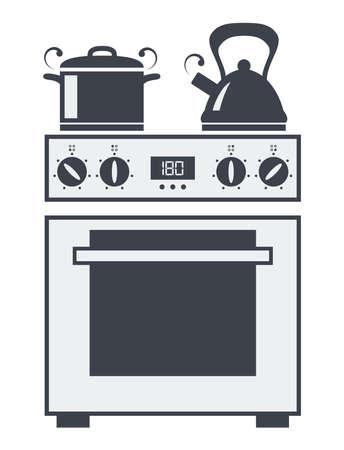 Icono del vector del horno eléctrico cocina con olla de sopa caliente y hervidor de agua hirviendo Ilustración de vector