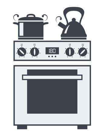 soup kettle: vector icon of kitchen electric oven with hot soup pan and boiling kettle