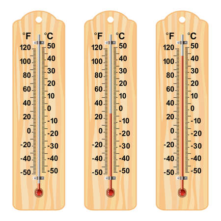 fahrenheit: vector set of wooden thermometers at different levels with fahrenheit and celsius scale