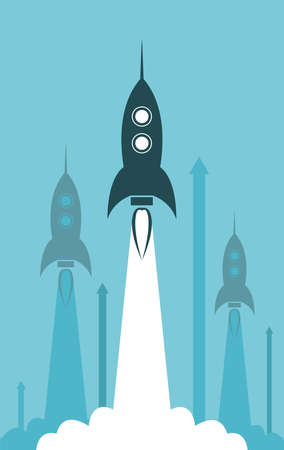 business competition: vector group rocket launch illustration as business competition concept Illustration