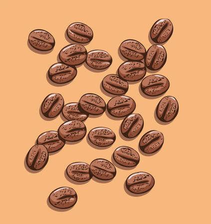 chicchi di caff?: vettore sfondo di chicchi di caffè sparsi Vettoriali