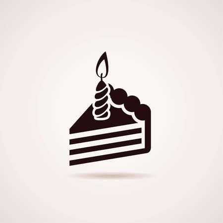 cake slice: vector icon of birthday cake slice with burning candle Illustration