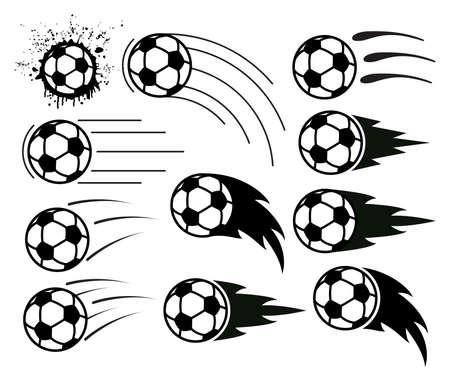 飛んでサッカーとサッカー ボールのベクトル描画  イラスト・ベクター素材