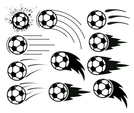 vector drawing of flying soccer and football balls Vectores