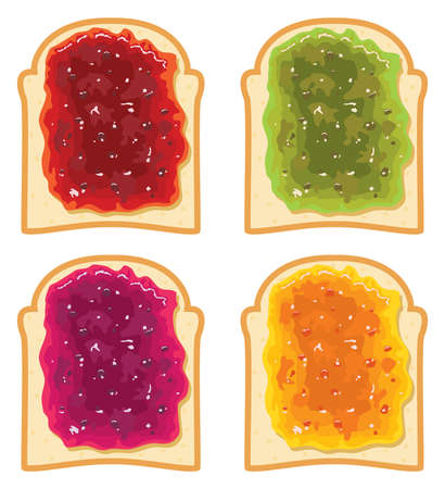 white bread: vector set of white bread slices with fruit jam Illustration