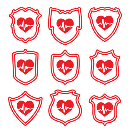 protecting your business: vector icons of  protect your heart symbols
