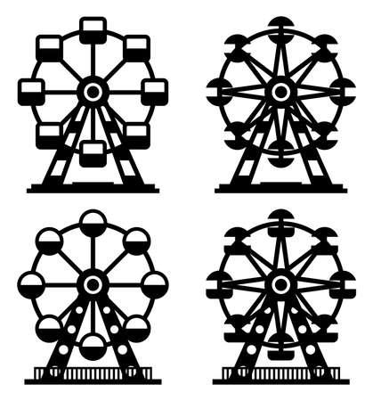 fair play: vector collection of park ferris wheels Illustration
