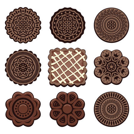 chocolate cookie: vector chocolate cookie set Illustration