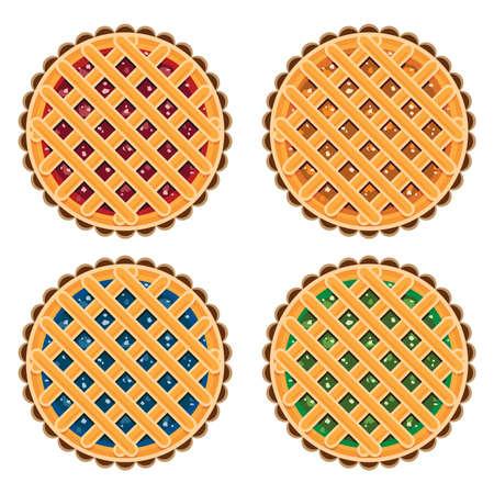 vector collectie van zelfgemaakte fruit en bessen taarten voor kerst, dankzegging en alle soorten vakanties Stock Illustratie