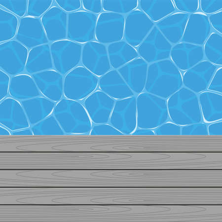 pool deck: vector summer background with swimming pool water and wooden deck