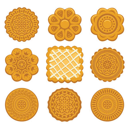 vector set of biscuit chip cookies of different shapes on white background