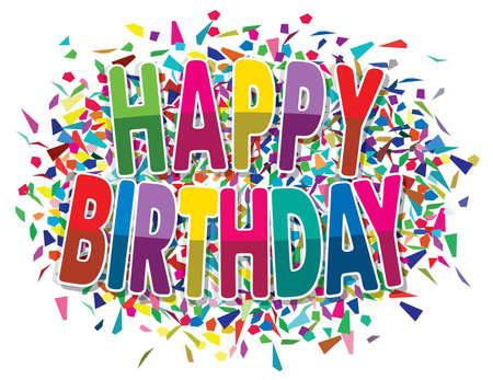 splinters: vector happy birthday greeting on colorful background of splinters