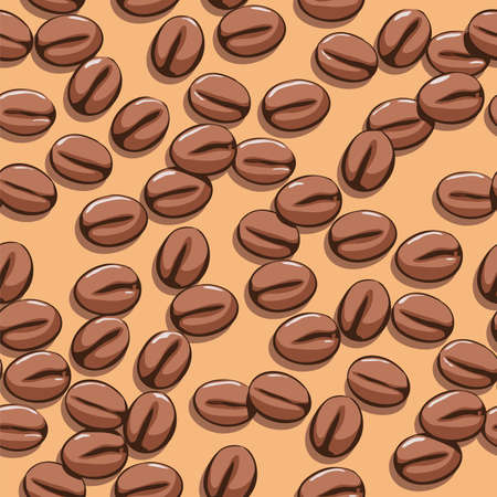 coffee beans: vector abstract background with seamless coffee bean pattern