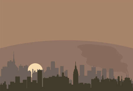 polluted cities: vector urban landscape of a city pollution
