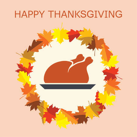 cooked: cooked turkey for thanksgiving day and autumn leaves Illustration