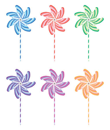 wind mill toy: colorful and striped pinwheel set