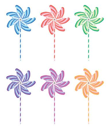 colorful and striped pinwheel set