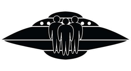 unidentified: ufo spaceship and aliens Illustration