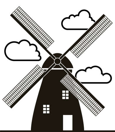 background of black and white windmill and clouds