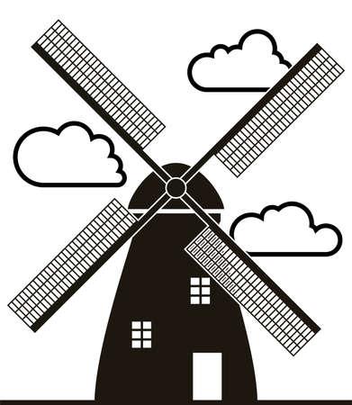 Hintergrund der schwarzen und weißen Windmühle und Wolken