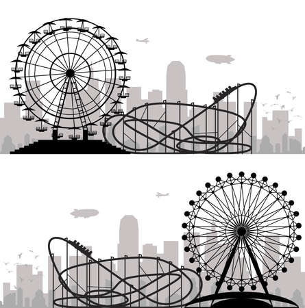 fond d'un parc de la ville et de divertissement avec grande roue et des montagnes russes