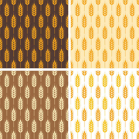 grain fields: collection of seamless repeating wheat patterns