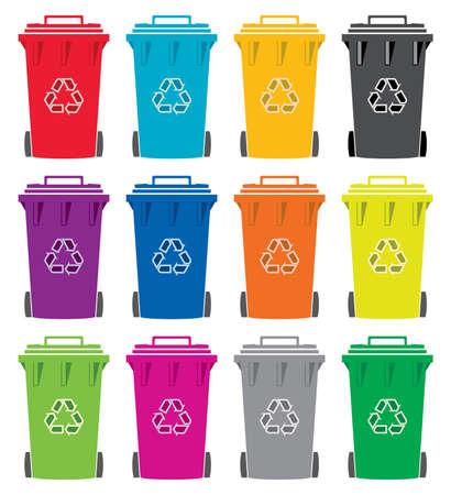 wheelie bin: set of colorful flat recycling wheelie bin icons Illustration