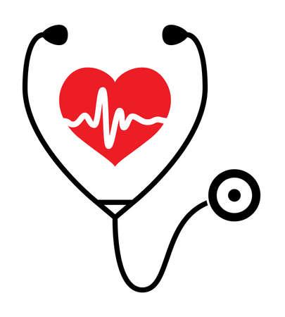 symbole de l'examen médical de la santé cardiaque et le rythme cardiaque avec un stéthoscope Vecteurs