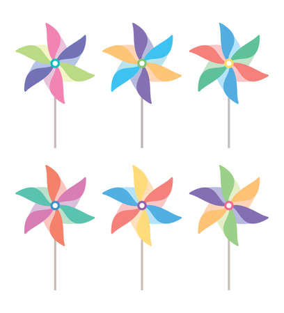 wind wheel: colorful and striped pinwheel set