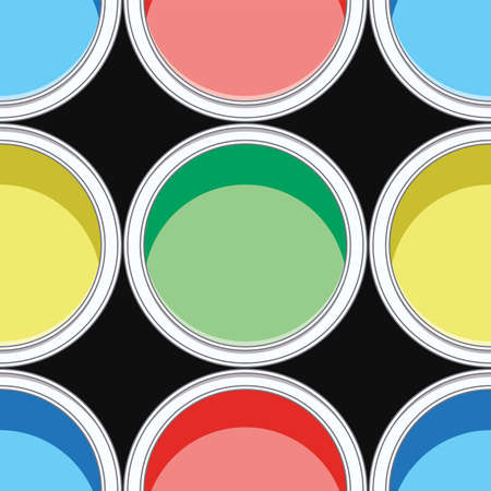 seamless background pattern of colorful paint cans
